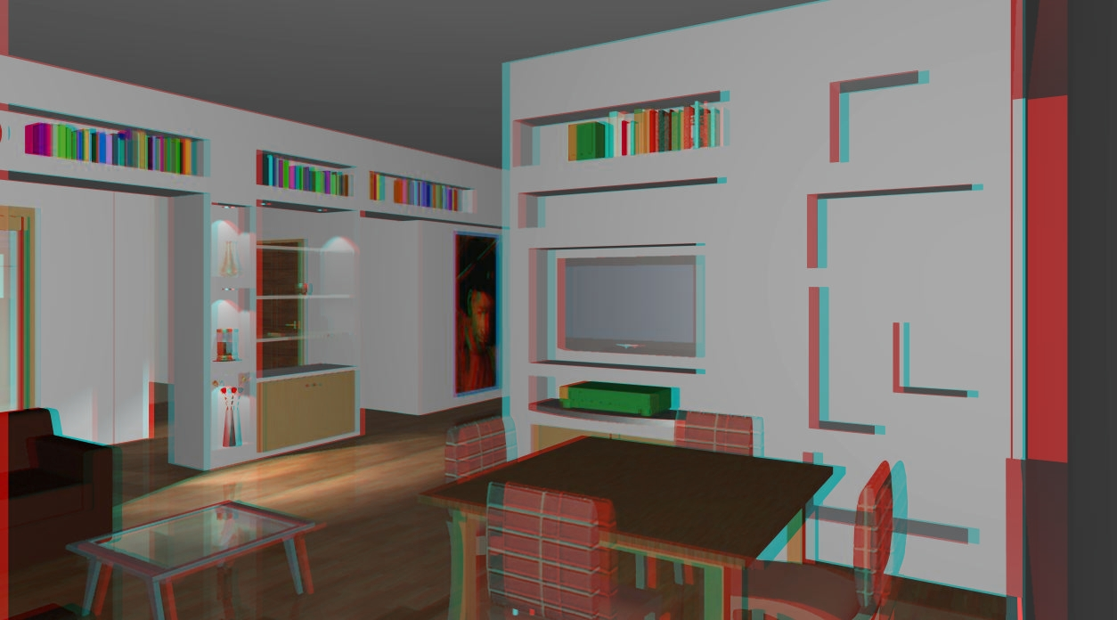 parete attrezzata  in visione real3d (stereografia)